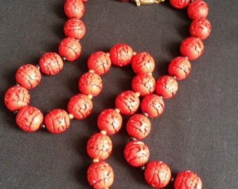 Vintage Red Cinnabar Necklace 24 inch