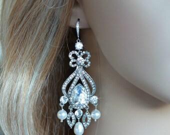 Vintage Inspired Crystal Rhinestone & Pearl Chandelier Bridal Earrings, Bridal, Wedding (Pearl-220)