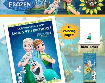 Frozen Fever Anna Elsa Coloring Book With Crayons Birthday Party Favor Personalized Favors