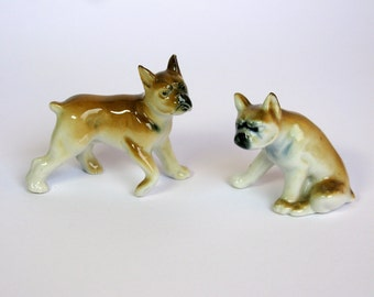 Antique / Germany / Boxer Dogs / Set of 2  / Porcelain Dog / Collectible / Marked / Foreign / Ceramic / Dog Figurines / Dog Lover Gift / 30s