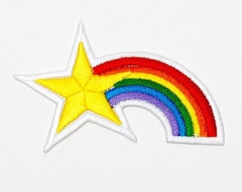 Set of 1 - The Star Rainbow. Iron-on Patch/Flex stickers/Applique