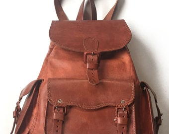 Calfskin Leather Backpack w/ Adjustable Straps