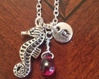 Birthstone July Ruby necklace seahorse Ruby July birthstone Ruby seahorse birthstone seahorse necklace Ruby birthstone necklace charm July