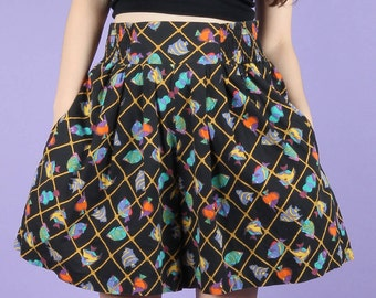 Quirky 80s Vintage Fish Under The Sea Culottes Shorts Skort