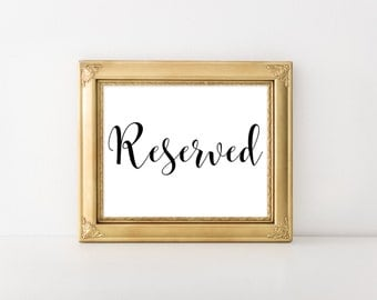 No. R1 | Reserved Sign | Printable | PDF | JPG | DIY | Wedding, Party and Events | Instant Download