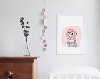 Illustrated Nursery Art Print - Clever Girls no. 1