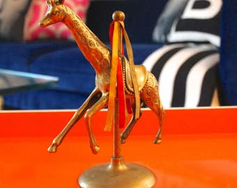 Adorable Vintage Brass Merry Go Round Giraffe // VTG Gold Circus Zoo Animal Figurine // Hollywood Regency Decor