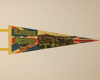London Bridge, Lake Havasu City, Arizona - Vintage Felt Pennant