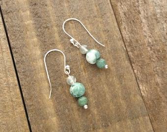 Green Stone Beaded Silver Earrings - Mothers Day Gift - Silver Earrings - Green Earrings - Handmade Beaded Earrings by LittleMillieShop