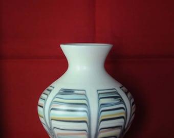 Vintage 1970s Hornsea small posy slipware vase - multicoloured