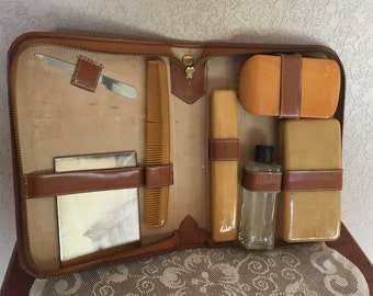 Men's Leather Travel Kit, Grooming kit, vintage, mid century