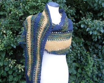 Hand knit, scarf, shawl, scarf, stripes, stripe