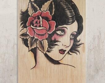 Traditional Tattoo - Gypsy / / Transfer on wood