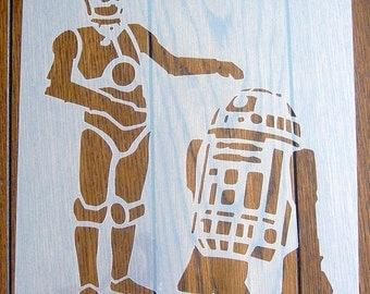 C3PO R2D2 Star Wars Droids Stencil Mask Reusable Mylar Sheet for Arts & Crafts, DIY