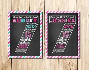7th Birthday Invitation Girl, Сhalkboard, Seventh Birthday Invitation, Girl Birthday Invitation, Pink, Purple, Chalkboard
