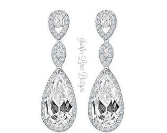Bridal Earrings, Bridesmaid Earrings, Bridal Gown, Dangle Earrings, Drop Earrings, Wedding Jewelry, Bridesmaid Jewelry, Long Earrings