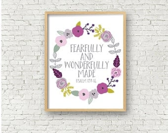 Fearfully and Wonderfully Made Psalm 139 Bible Verse Floral Printable Art Print 8x10 Scripture Art Wall Art Printable Instant Download