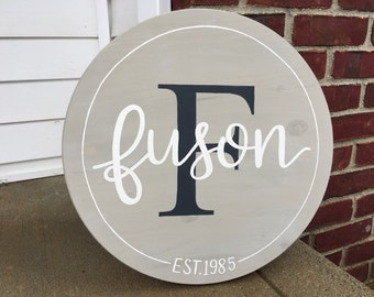 Custom Wood Sign | Family Name | Established Sign | Personalized Wood Sign | Wood Round | Hand Painted | Monogram