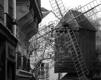 Digital Download, ' Paris Windmill', Paris, black and white photography by Roger Pan