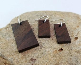 Black Walnut Wood Jewelry Set, Earrings, Pendant