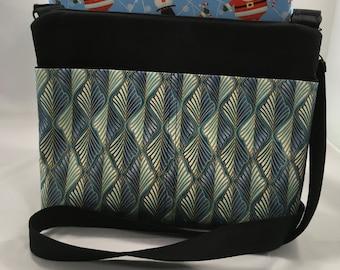 London City Crossbody Bag with Pockets, Womens Shoulder Strap Purse, Wife Anniversary, Daughter Birthday, Lavish Blue