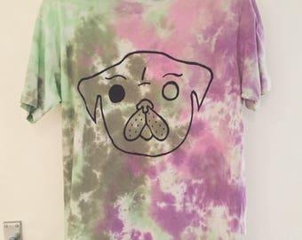 Pug Face DIY Grunge Tie Dye Shirt - LARGE