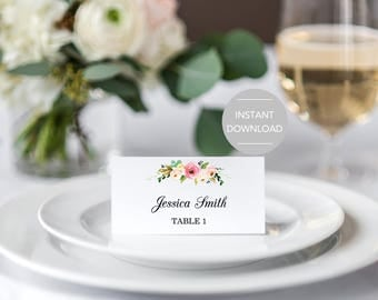 Wedding place cards etsy for Templates for place cards for weddings