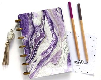 MAMBI Mini Happy Planner Cover - Marble Planner Dashboard - Laminated Planner Cover - Create 365 Planner - Disc Bound Planner Accessories
