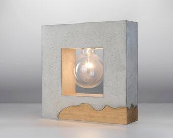 Inscrito Concrete Table Lamp/ Concrete and wood