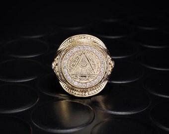 Men masonic signet ring, Diamond masonic ring, All-seeing eye ring, Masonic gold signet ring, Men diamond ring, Big ring,Unique masonic gift