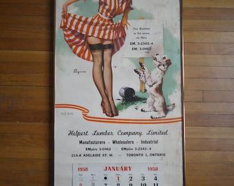 Vintage Gil Elvgren Pinup Calendar - 1958 Pinup Calendar - Gil Elvgren - Vintage Pinup - Pinup Calendar - Gil Elvgren Pinup - Vintage Decor