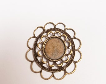 5 Antique Brass Flower Tray Setting 10mm #588