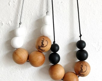 Silicone and maple teething necklace, breastfeeding necklace, nursing necklace, teething jewellery, Mama, white, black