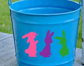 Easter Bunny Bucket Decal - Easter Bunny Pail Decal - Custom Easter Bunny Decal - Easter Basket Decal - Vinyl Easter Decal