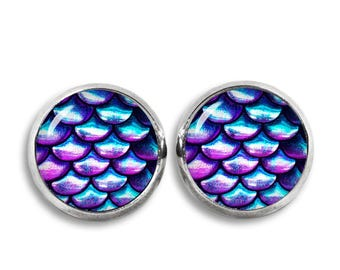 Iridescent Scales Stud Earrings Mermaid Scales Earrings Fantasy Earrings Fangirl Fanboy