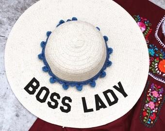 floppy hat embroidered - boss lady hat - floppy beach hat - summer hat - hat with words - beach hat - straw hat - birthday - summer
