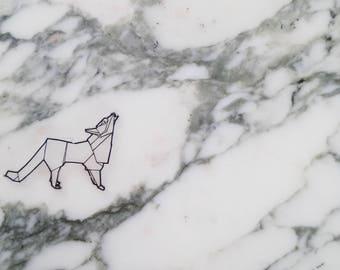 Wolf origami necklace, shrink plastic jewellery