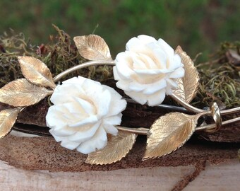 Vintage Krementz Gold Tone Faux Ivory White Rose Brooch