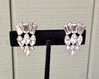 Vintage B. David Silver Tone Rhinestone Clip Earrings