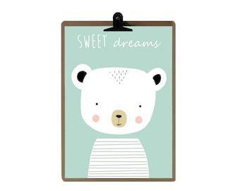 Bear nursery print - Green color Nursery art prints - baby nursery decor - nursery wall - Children Art - Kids Room