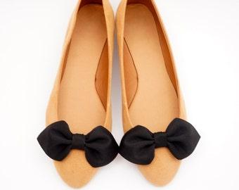 Black bows shoe clips - shoe bows Manuu, shoe accessories, handmade bows, black shoes