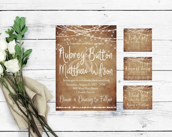 Rustic Wedding Invitation Template- Instant Download Invitation- Printable Wedding Invitation Kits- Rustic Wedding Suite- String Lights