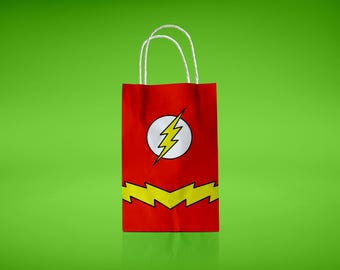 Flash Printable Favor Bags Superhero Birthday Party Supply Decorations Treat Bag Inspired Goody Bags Instant Download Gift Box Flash Decor