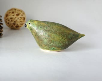 Hand Shaped Ceramic Green Bird