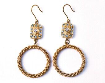 Arianna-Italian vintage jewelry, Aquamarine and Crystal Aurore Boreale, Zama