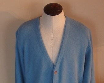 Mens Vintage Cardigan Sweater of Blue Acrylic 1960s, 70s