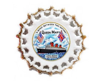 1960s Queen Mary Souvenir Vintage Collectors Plate Made in Japan Wall Hanging Cunard Lines Cruise Ship