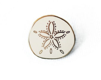 Sand Dollar Enamel Pin - Shell Lapel Pin // Hard Enamel Pin, Cloisonné, Pin Badge