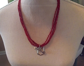 Ruby Four Stranded  Necklace