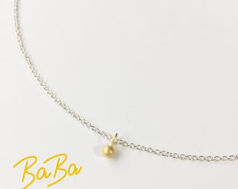 GOLD BEAD with silver chain